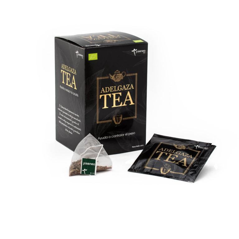 Caja, pirámide y sobre en detalle del producto Adelgaza tea