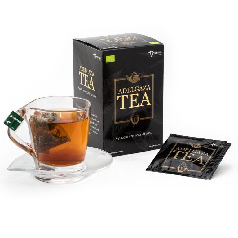 Caja, sobre e infusión en taza del producto Adelgaza Tea