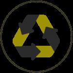 Icono reciclaje. Tres flechas en círculo